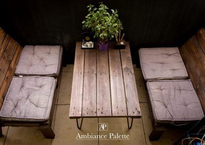 Salon de jardin balcon table basse pied Ripaton par Ambiance Palette (5)